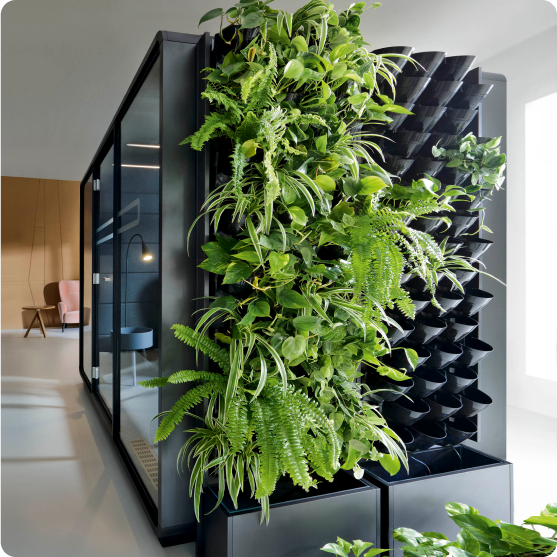 Acoustic meeting pod with green walls Hushoffice greenWalls