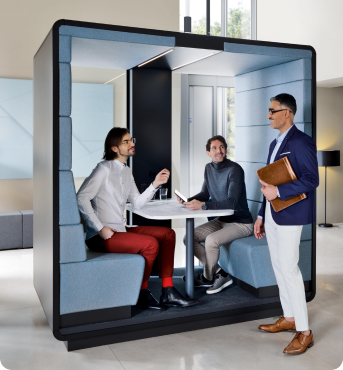 Acoustic office pod for 2-4 persons hushMeet.open from Hushoffice