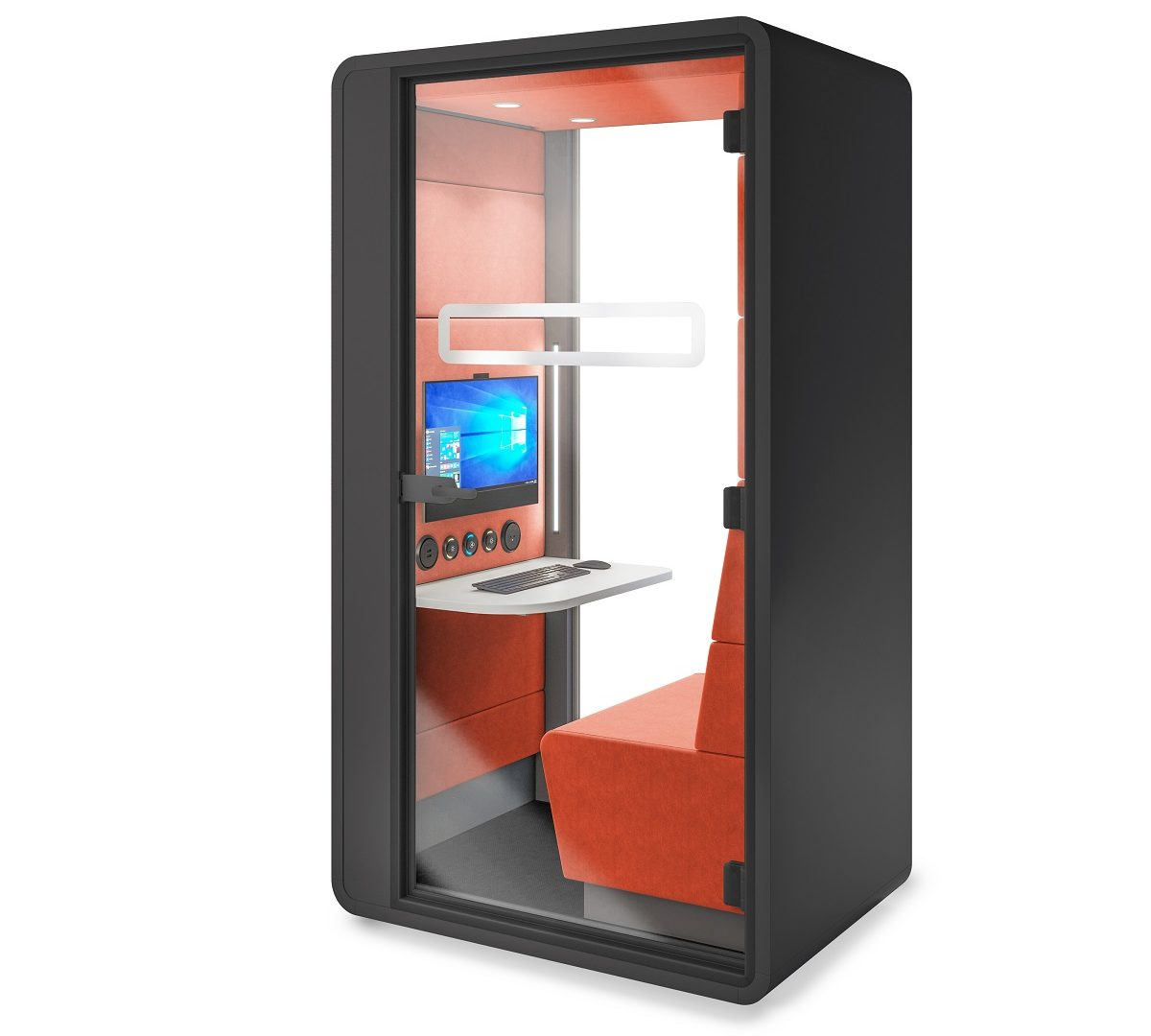 No meeting room for video conferencing? HushHybrid is a flexible fix. An all-in-one mobile office pod for video calls.