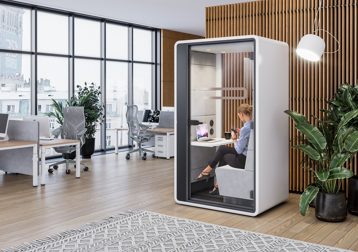 HushHybrid is a modern office pod for a hybrid world reliant on videoconferencing.