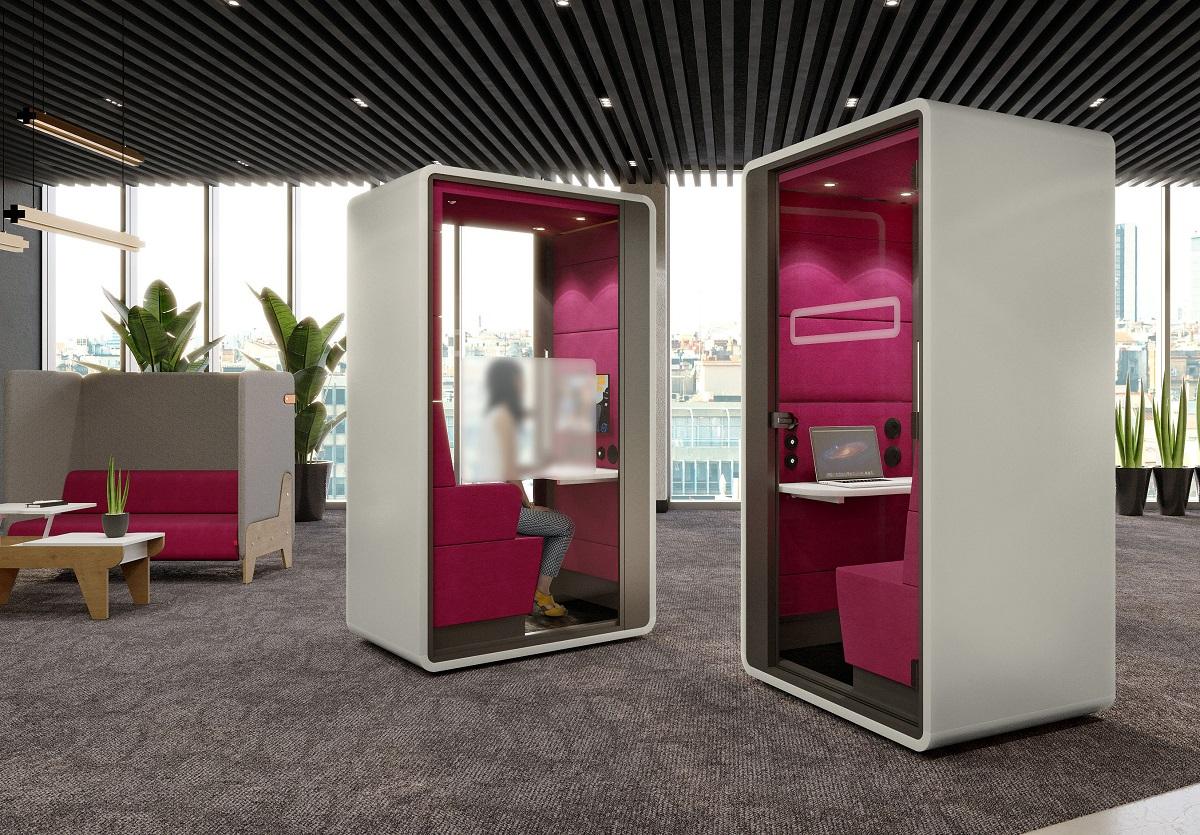 Videoconferencing just got better with hushHybrid acoustic office pod for hybrid work!