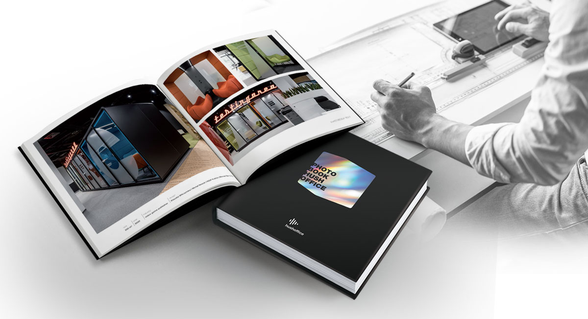 Inspiring office designs with acoustic pods in 2020/21 edition of Hushoffice Photobook