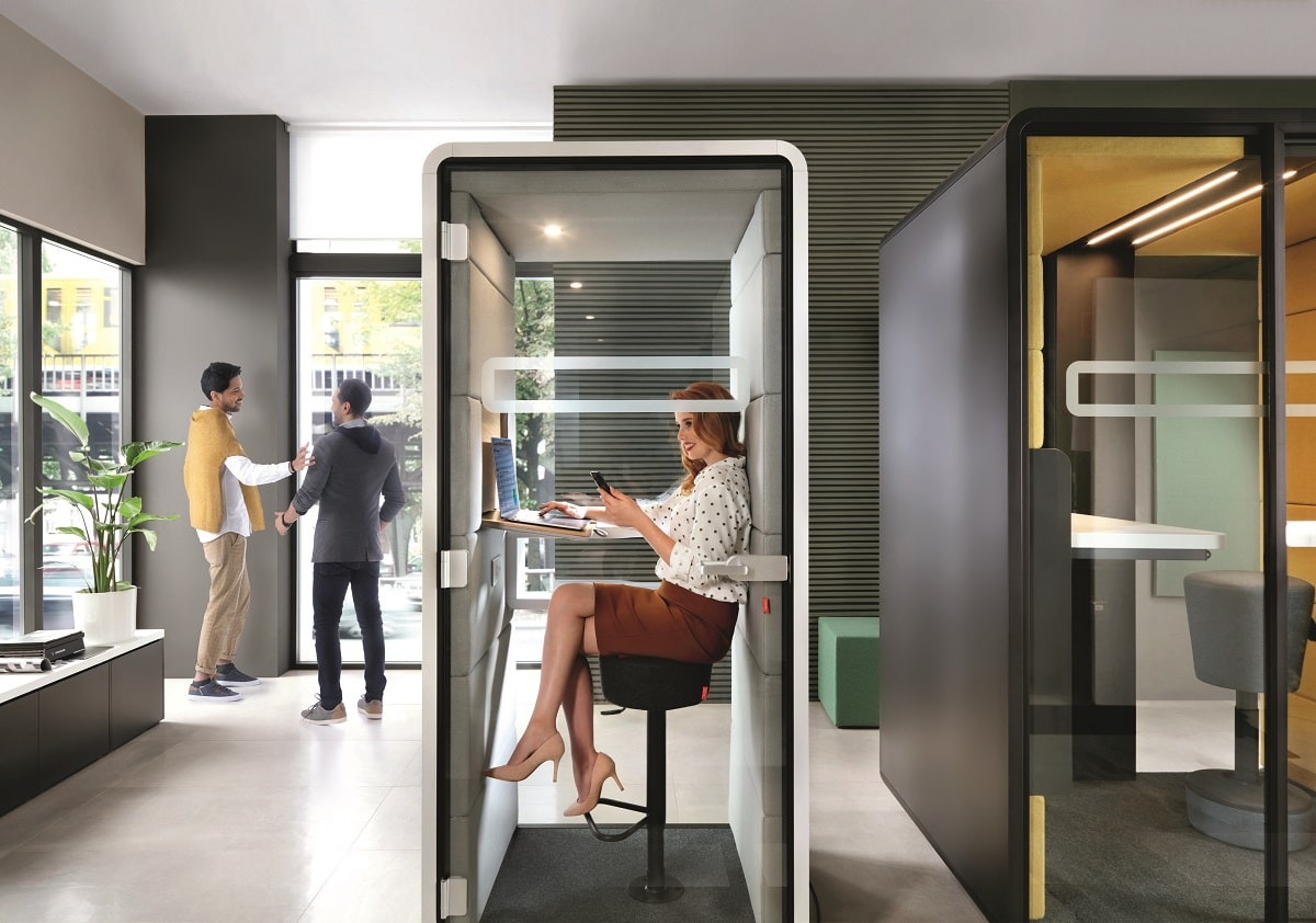 HushPhone. The personal phone booth for private calls in the office.