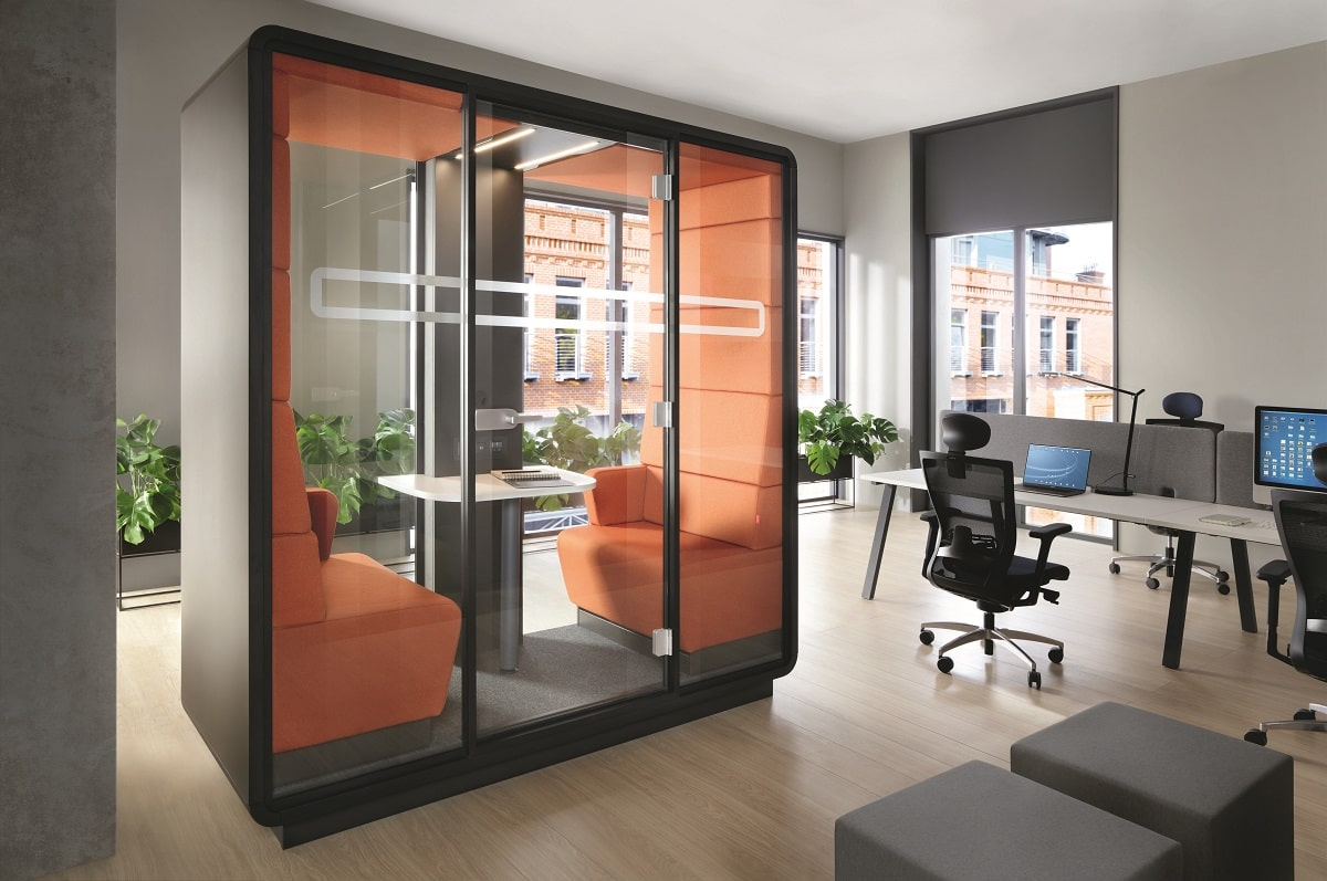 """""""Comfortably quiet."""" Like a soothing hum. Hush pods dampen all distracting office noise."""
