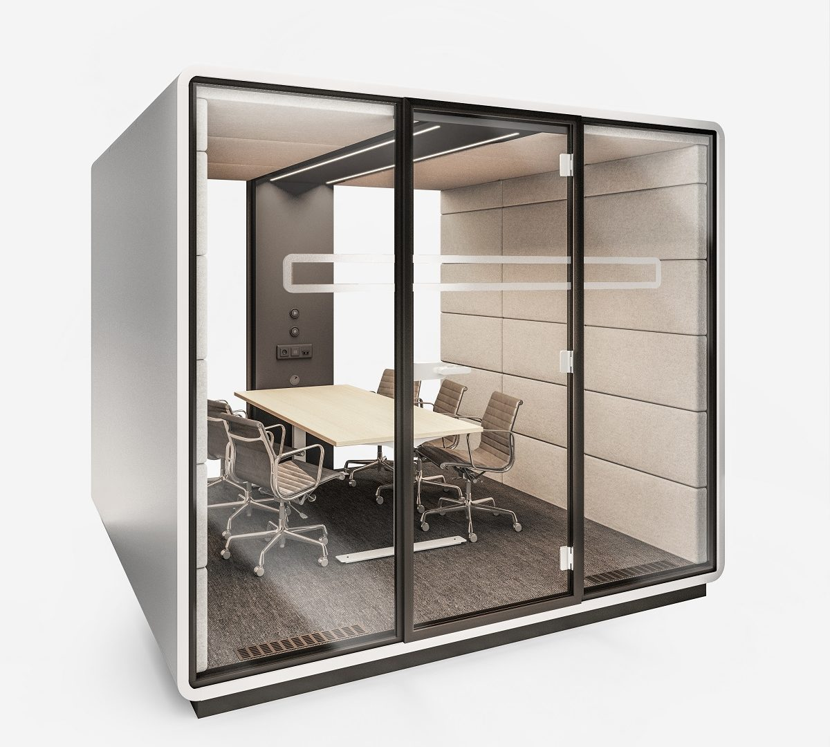 HushMeet.L modular office pod. Coated with an anti-virus solution that kills over 80% of surface viruses, bacteria, and fungi. Safely collaborate in the open office.