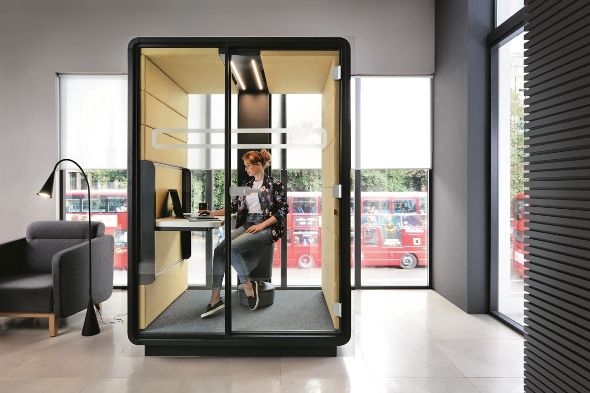Quiet. Private. Equipped with adjustable lighting & ventilation, convenient charging, and a comfortable desk. HushWork.sit&stand is the ideal space for independent work in the open office.
