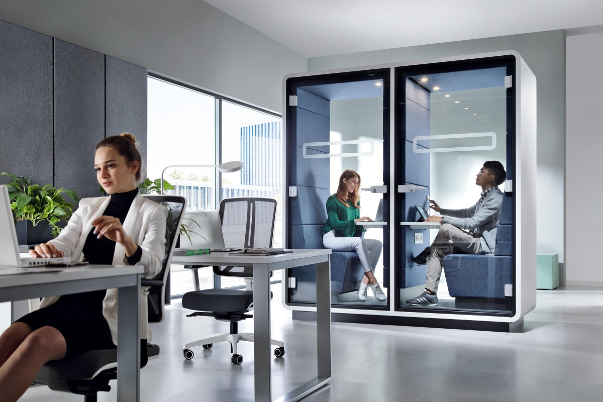 HushTwin duo small office pods. 2 independent workspaces. 1 conjoined pod. Optimal use of minimal space.