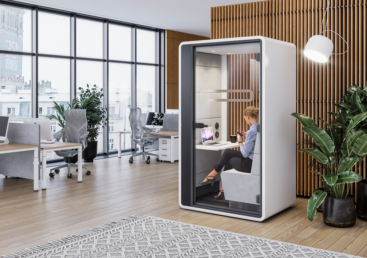 One-person pod for high-quality video conference calls